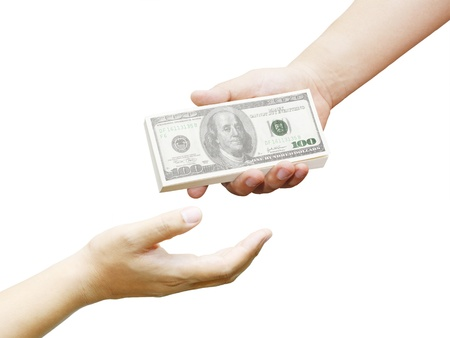 hand of a man holding 100 dollar bills to another hand isolated on a white background photo