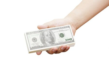 hand of a man holding 100 dollar bills isolated on a white background