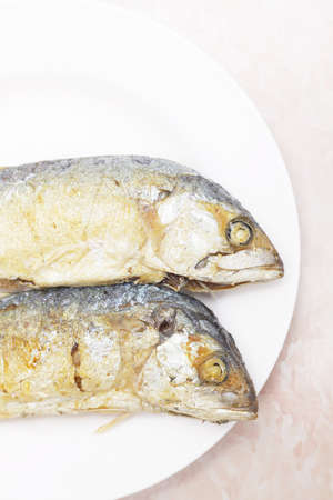 fried mackerel fishes on white plate