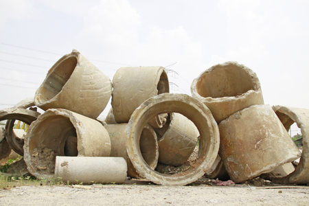 Concrete drainage pipe on a construction site Stock Photo