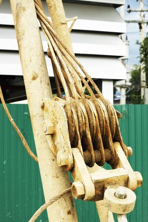 dirty sling for crane hook and Pulley Block Tackle Rope Pull