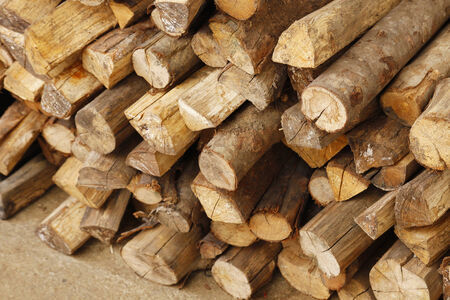 Photo of Stack of chopped firewood Stock Photo