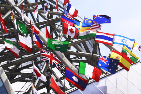 International Flags blowing in the wind Editorial