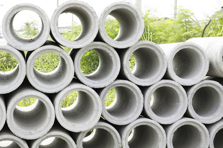 pile of concrete Drainage Pipe on a Construction Site