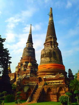 Ancient pagoda in ruined old temple at Ayutthaya Thailand Stock Photo