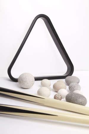 Billiards and Stone spheres Stock Photo