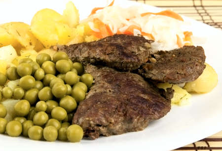 Roast Beef with Green Pea and Prepared Potato Stock Photo
