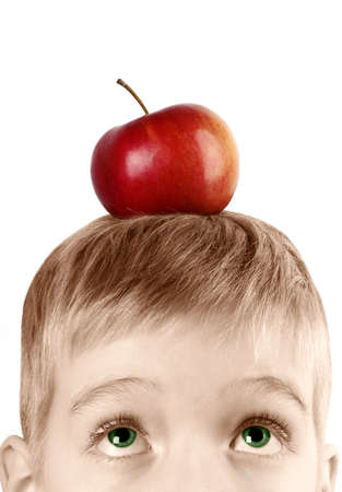 The child with an apple on his head