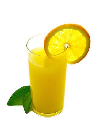 Orange juice on a white background