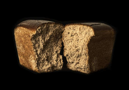 Bread on a black background