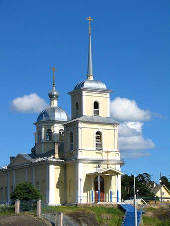 Orthodox church near Russian sity Petrozavodsk Stock Photo