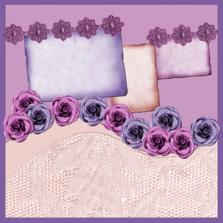 Page with lilac elements and flowers photo