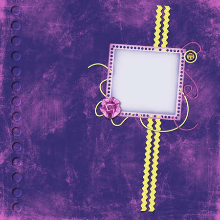 Grunge frame in violet scrapbooking style photo