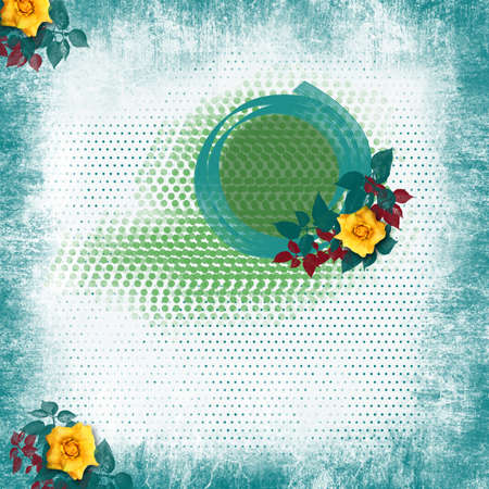 Picture in scrapbooking style with yellow roses photo