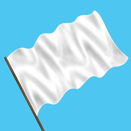 Computer generated white flag on the blue sky Stock Photo