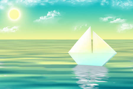 The white ship in the sea at sunrise Stock Photo