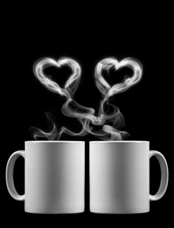 Two cups of tea with love Stock Photo
