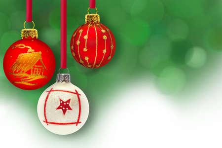 Christmas balls on green background Stock Photo