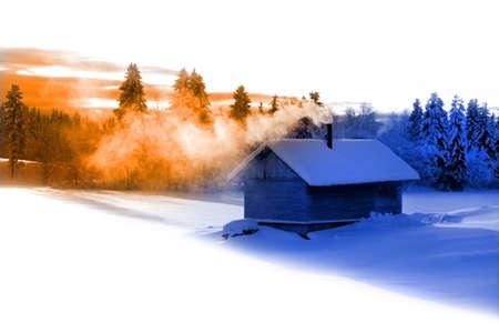 badhuis: Traditionele Russische badhuis in de winter