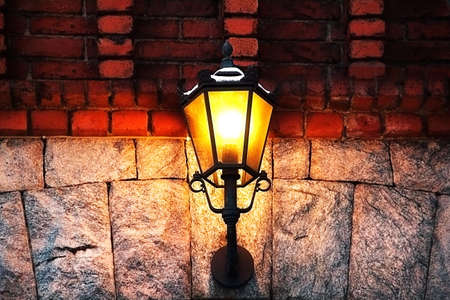 Antique lantern on the old building