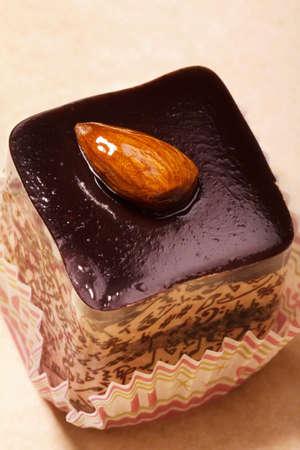 Sweet chocolate dessert cake  with nat