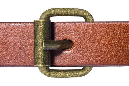 Macro of belt with gold buckle Stock Photo