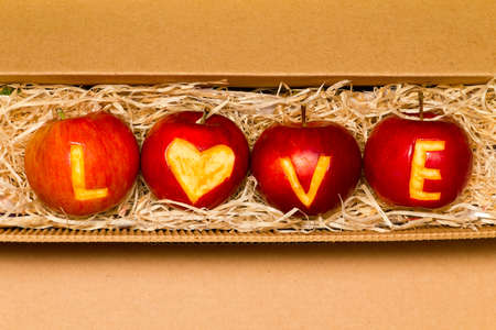 Apples with word love