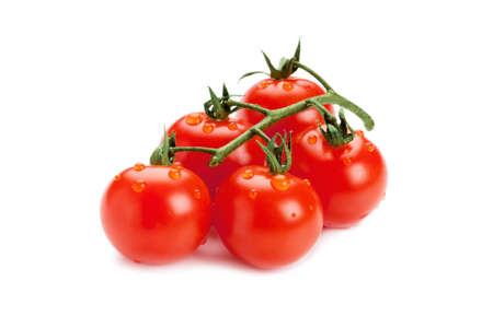 full frame: Red tomato on white background Stock Photo