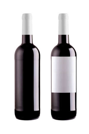 Bottles of Red Wine on the white background photo