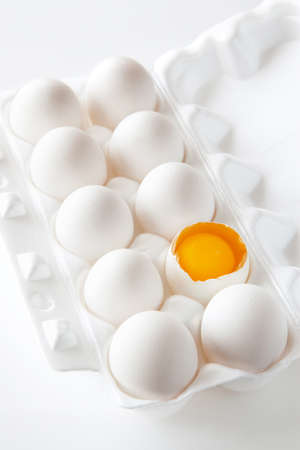 White eggs on the white background