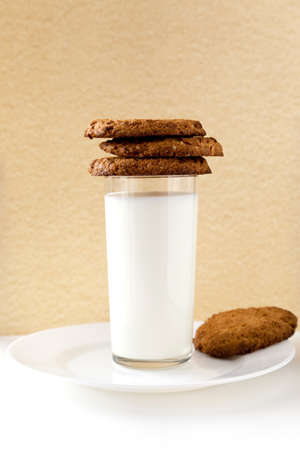 Breakfast with Milk and Cookies Stock Photo