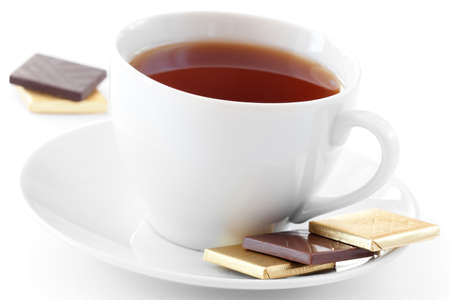 White Cup of tea with chocolate