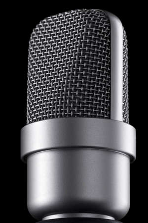 Microphone macro on the black background