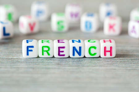 The word french surrounding other letters Stock Photo