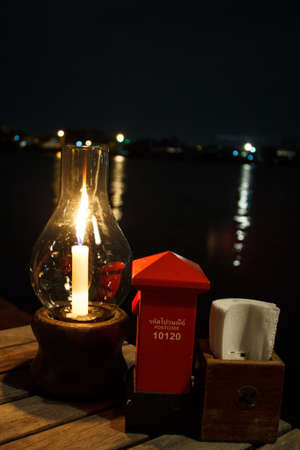 The accessory of a riverside restaurant in bangkok photo
