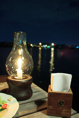 The accessory of a riverside restaurant in it s nature light photo