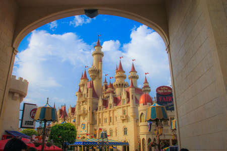 A fantasy castle of Singapore s universal with triumphal arch
