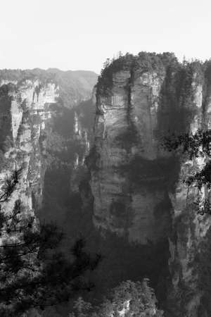 a wonderful world: Tien mansan Mountain view at Zhangjiajie in dark tone Stock Photo