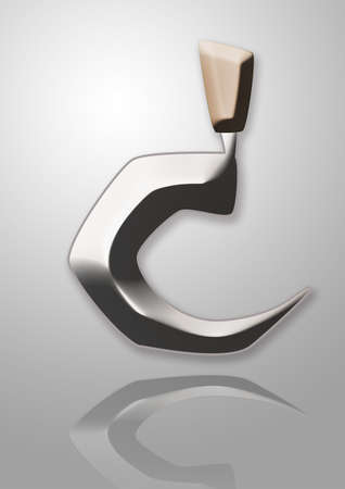 C shape of 3D sickle with its reflection Vector