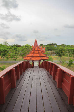 The large bridge with the temple at Ancient Siam photo