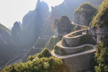 a wonderful world: The way to reach a heaven door at Zhangjiajie with sunlight Stock Photo
