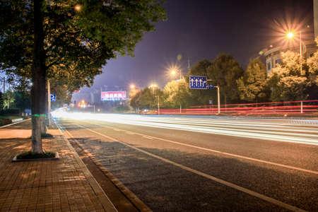 electric avenue: laser light on street Stock Photo