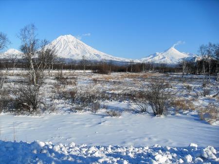 Koryak and Avacha volcanoes Фото со стока
