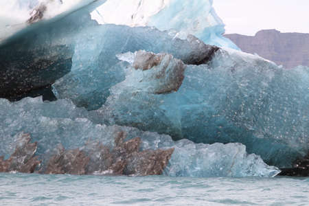 inclusions: A closeup of inclusions in an iceberg in the Jkulsrln lagoon iceland Stock Photo
