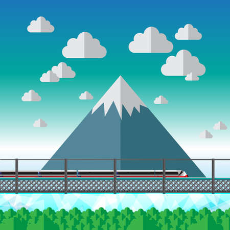 orthographic: Fuji Mountain Japan Vector
