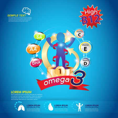 witaminy: Omega 3, witaminy dla dzieci Ilustracja