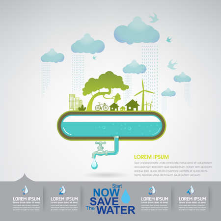 fresh water splash: Save Water Illustration