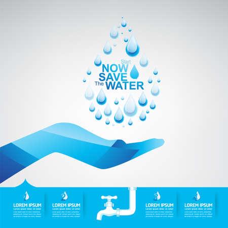recycling plant: Save Water Illustration
