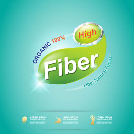 proteins: High Fiber Food and Vitamin Vector Concept Label in Background Green