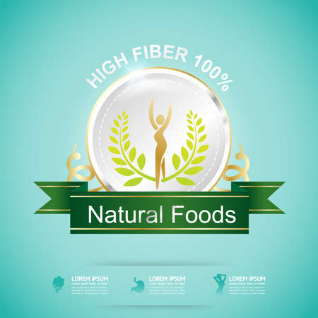 fiber food: High Fiber Food and Vitamin Vector Concept Label in Background Green